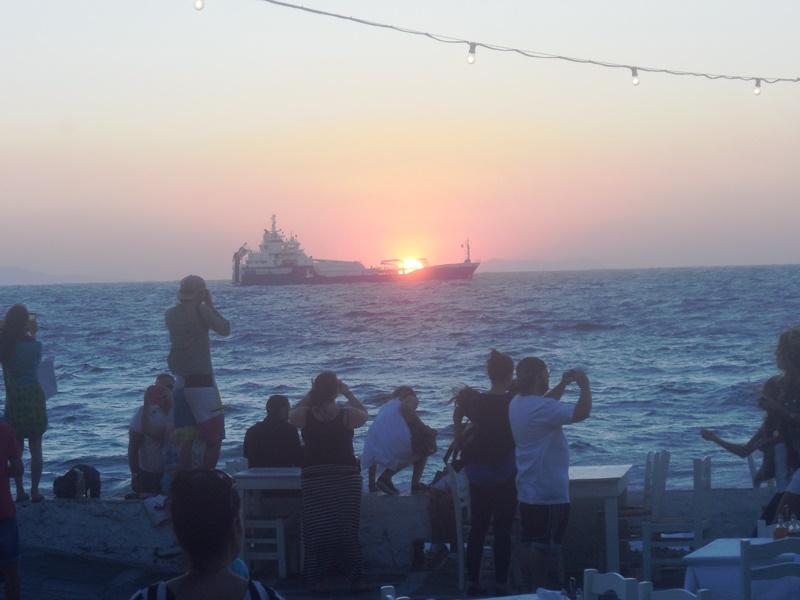 Klein Venedig Mykonos, Sonnenuntergang