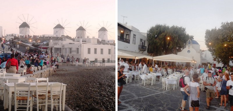 Mykonos-Stadt, Sonnenuntergang