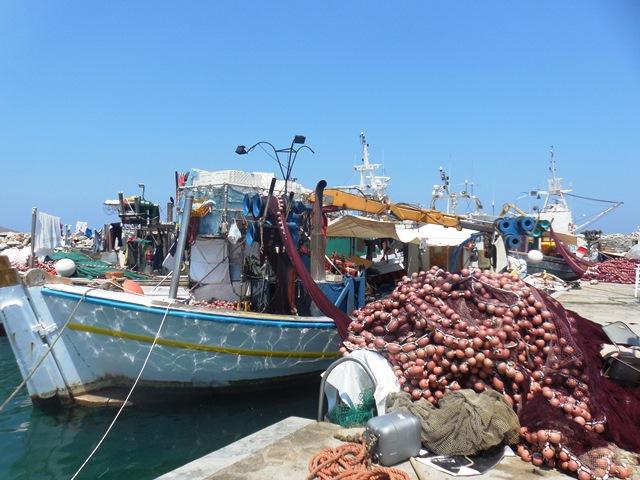 Hafen Naoussa, Paros, Fischerboot am Hafen