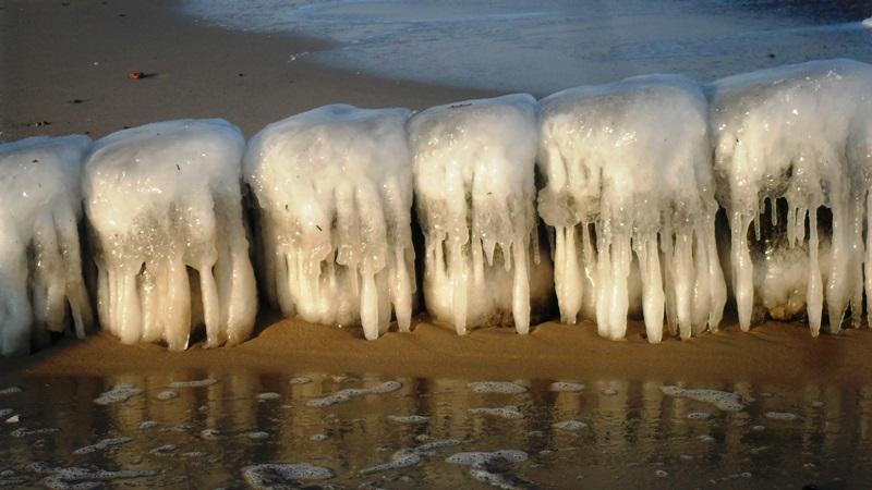 Vereiste Bunen - winterliche Ostsee