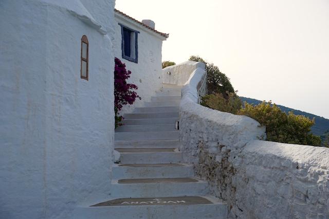 weiße Häuser Skopelos Stadt