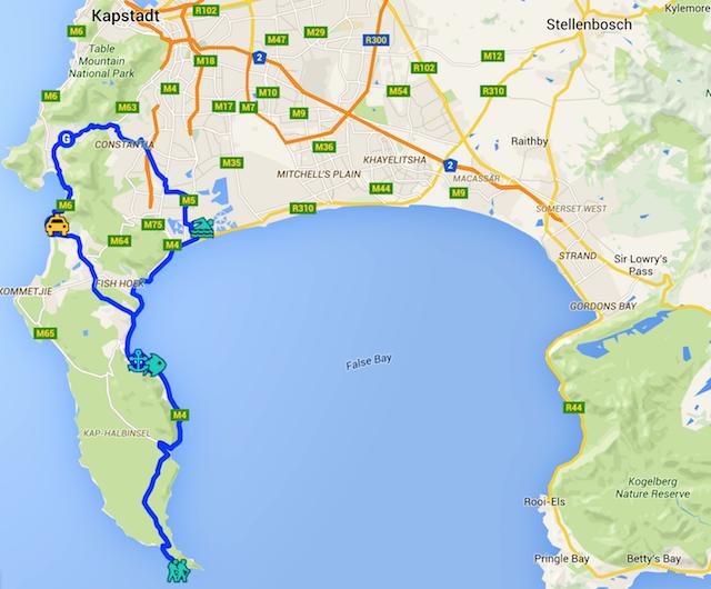 Tagestour Kap der Guten Hoffnung, Route