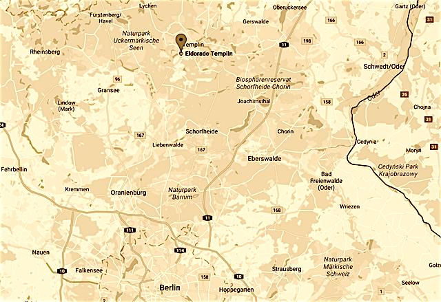 Westernstadt El Dorado Templin Uckermark Lage