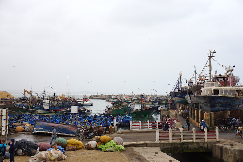 Essaouira, Blick auf den Fischereihafen (Marokko)