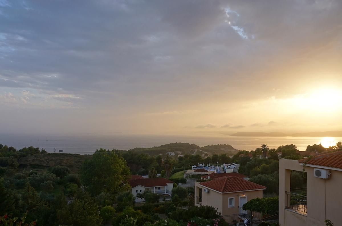 Kefalonia Sonnenuntergang, Blick von unserer Terrasse