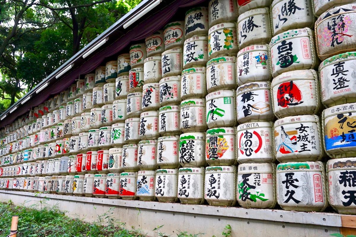 Tokio, Meiji-Schrein, Sake Fässer